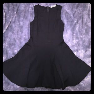 Black circle skirt dress with shoulder cut outs
